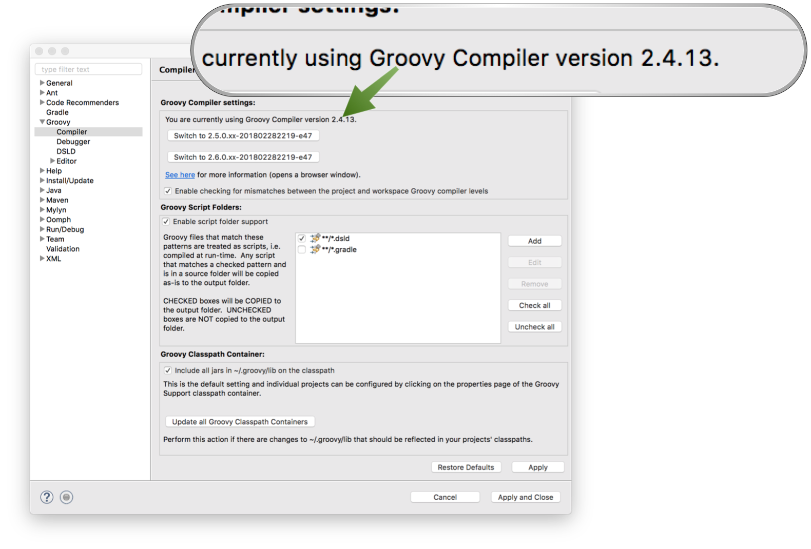 Setup Groovy Compiler at Eclipse
