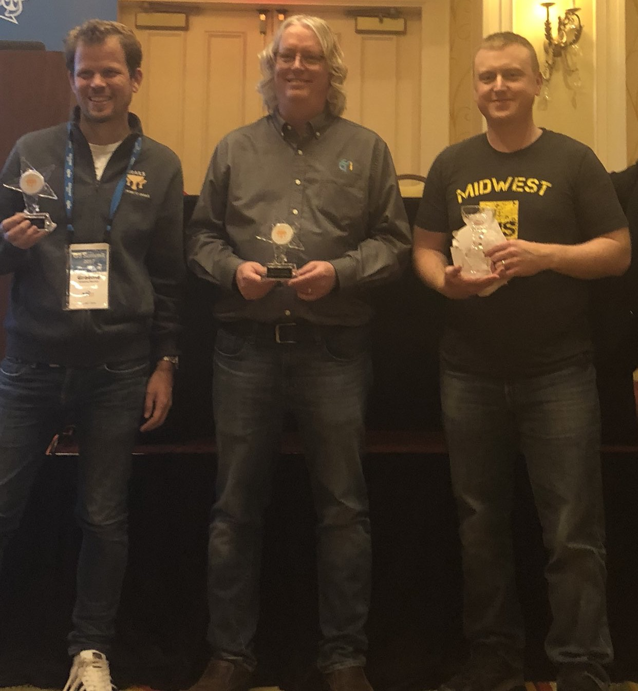 Eric Helgeson, Graeme Rocher and Jeff Scott Brown with Grails Rock Star Award and Grails lifetime awards